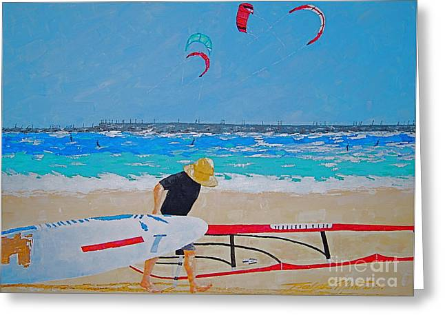 Wind Surfing Art Paintings Greeting Cards - Dreamer Disease V Ponce Inlet  Greeting Card by Art Mantia