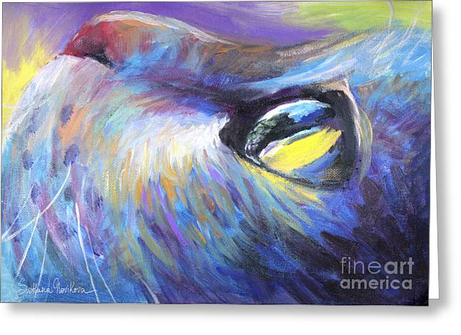 Prints For Sale Art Greeting Cards - Dreamer Tubby Cat painting Greeting Card by Svetlana Novikova