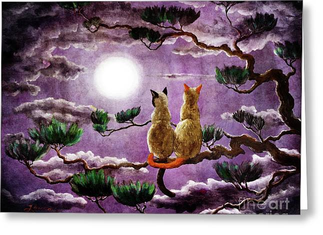 Surreal Cat Landscape Greeting Cards - Dreaming of a Pine Tree Greeting Card by Laura Iverson