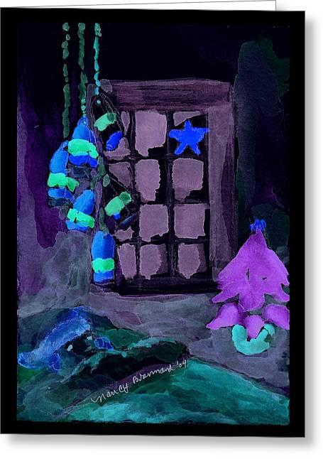 Snowy Evening Mixed Media Greeting Cards - Dreaming of Santa Greeting Card by Nancy Brennand