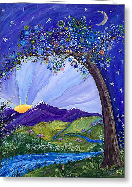 Snow Capped Mountains Greeting Cards - Dreaming Tree Greeting Card by Tanielle Childers
