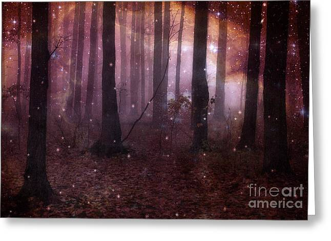 Surreal Pink Nature Prints By Kathy Fornal Greeting Cards - Dreamland Surreal Fantasy Tree Woodlands Greeting Card by Kathy Fornal