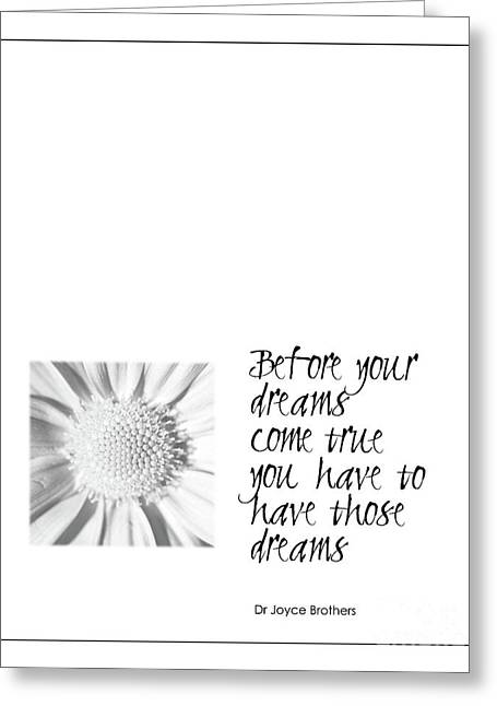 Kate Mckenna Greeting Cards - Dreams Come True Quote Greeting Card by Kate McKenna