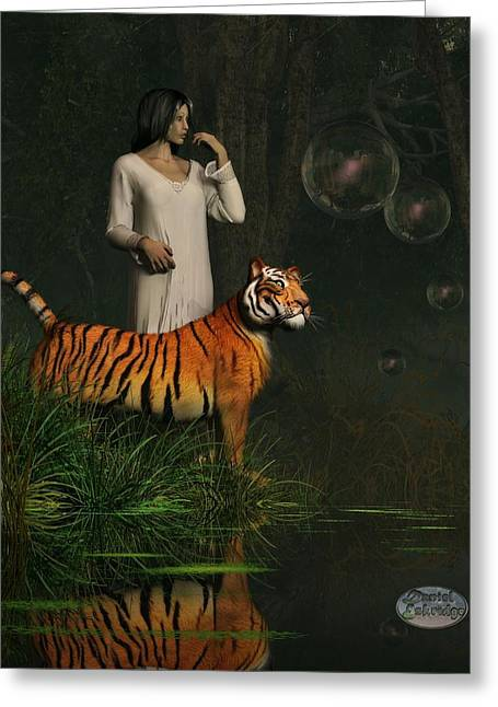 Tiger Dream Greeting Cards - Dreams of Tigers and Bubbles Greeting Card by Daniel Eskridge