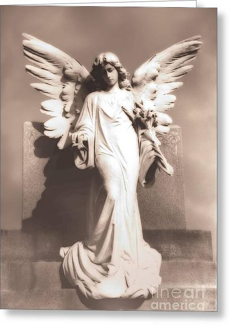 Sepia Prints Greeting Cards - Dreamy Angel Statue Monument -  Ethereal Surreal Angel Statue Greeting Card by Kathy Fornal