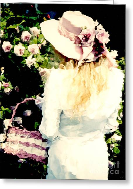 Cottages Photographs Greeting Cards - Dreamy Cottage Chic Girl Holding Basket Roses Greeting Card by Kathy Fornal