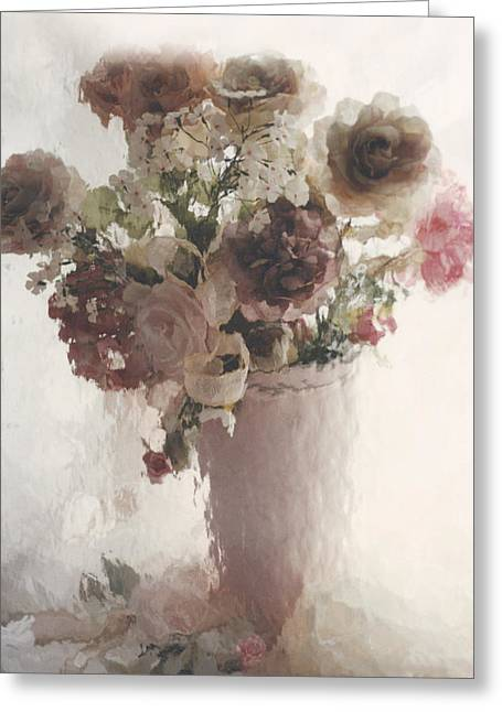 Pale Pink Greeting Cards - Dreamy Cottage Chic Pink Flowers in Vase Greeting Card by Kathy Fornal