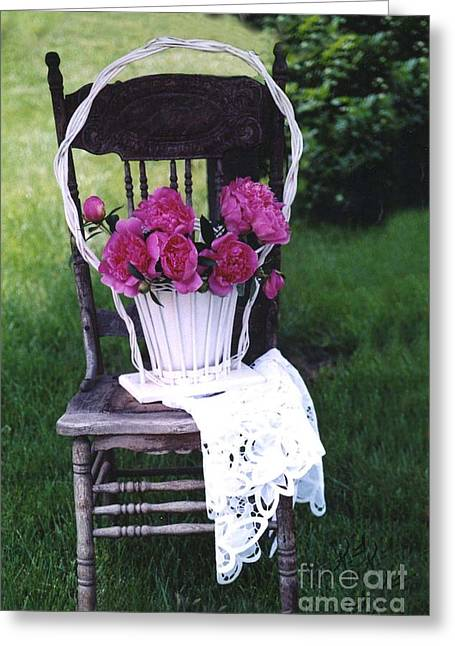 Garden Chairs Greeting Cards - Dreamy Cottage Chic Vintage Pink Peonies in Basket on Old Vintage Chair Greeting Card by Kathy Fornal