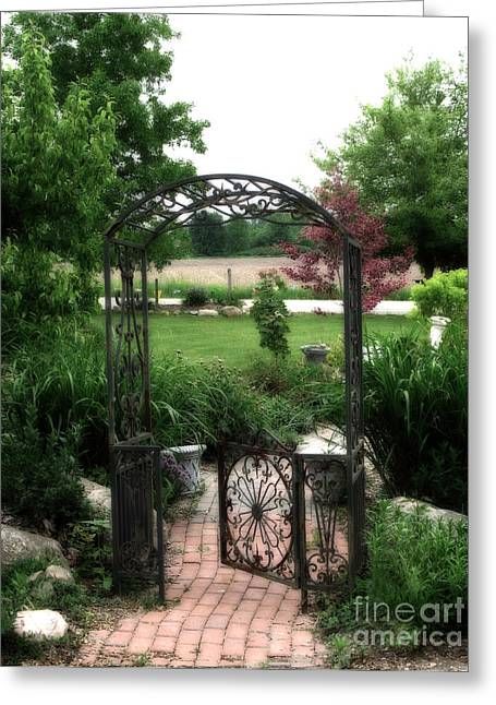 Garden Scene Greeting Cards - Dreamy French Garden Arbor and Gate Greeting Card by Kathy Fornal