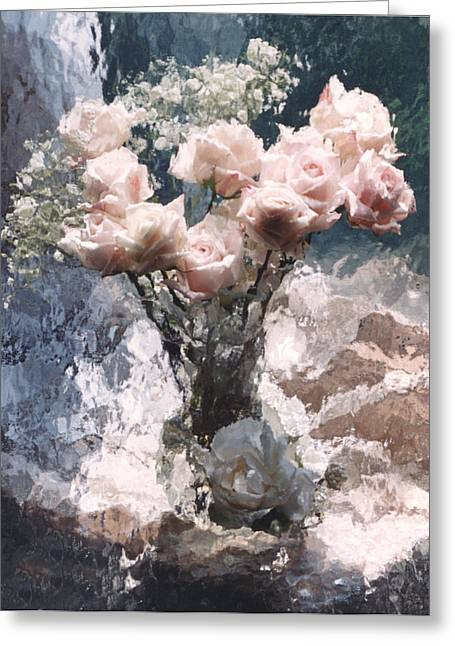 Pale Pink Greeting Cards - Dreamy Impressionistic Cottage Pink Roses  Greeting Card by Kathy Fornal
