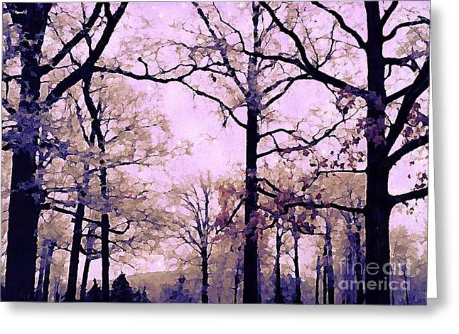 Fantasy Art Greeting Cards - Dreamy Impressionistic Romantic Nature Trees Woodlands Forest Autumn Pink Mauve Lavender Greeting Card by Kathy Fornal