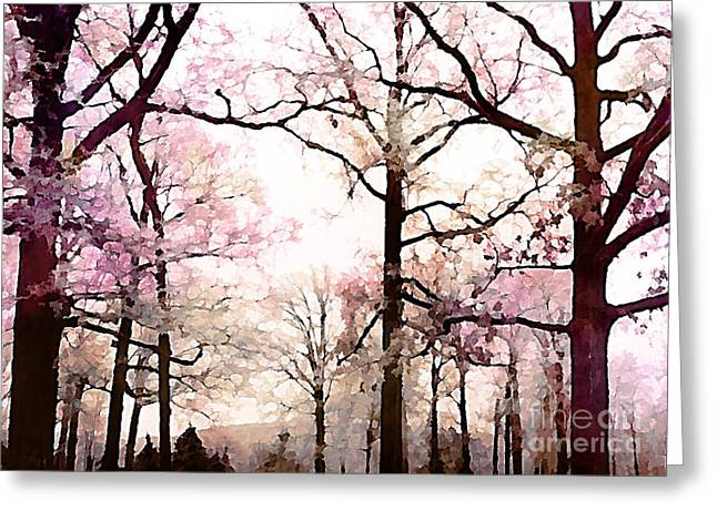 Surreal Dreamy Nature Photos Greeting Cards - Dreamy Impressionistic Romantic Rose Fall Trees Greeting Card by Kathy Fornal