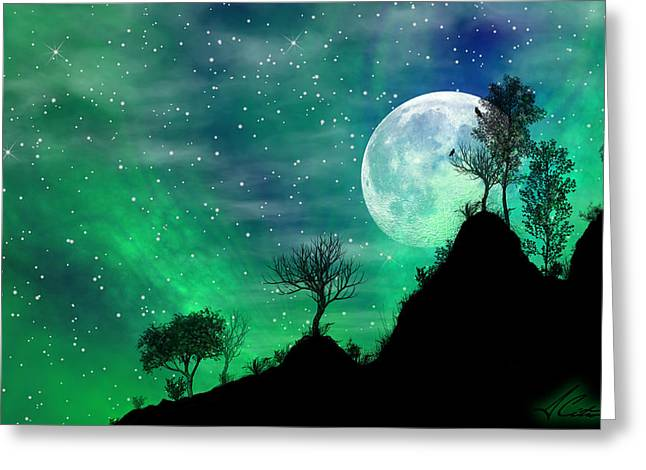 Harvest Mixed Media Greeting Cards - Dreamy Night Greeting Card by Anthony Citro
