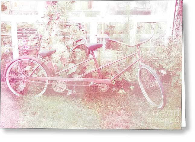Pale Pink Greeting Cards - Dreamy Paris Pink Pastel Bicycle For Two Greeting Card by Kathy Fornal
