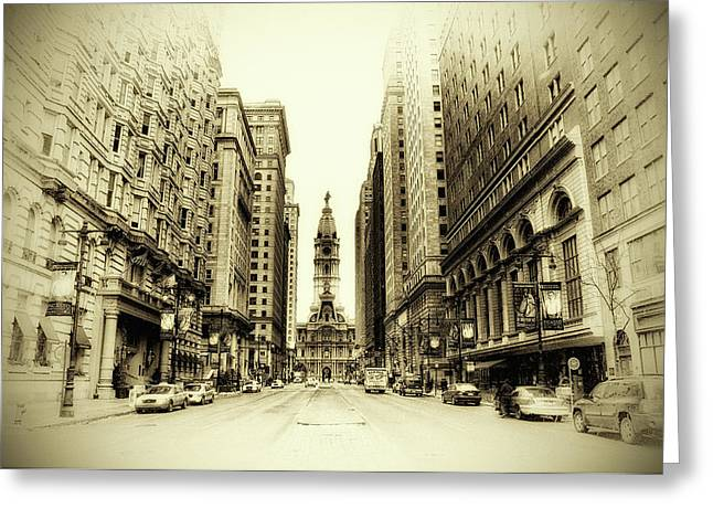 Broad Street Digital Art Greeting Cards - Dreamy Philadelphia Greeting Card by Bill Cannon