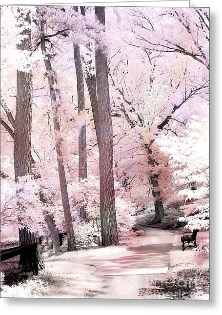 Surreal Pink Nature Prints By Kathy Fornal Greeting Cards - Dreamy Pink and White Infrared Park Woodlands Greeting Card by Kathy Fornal