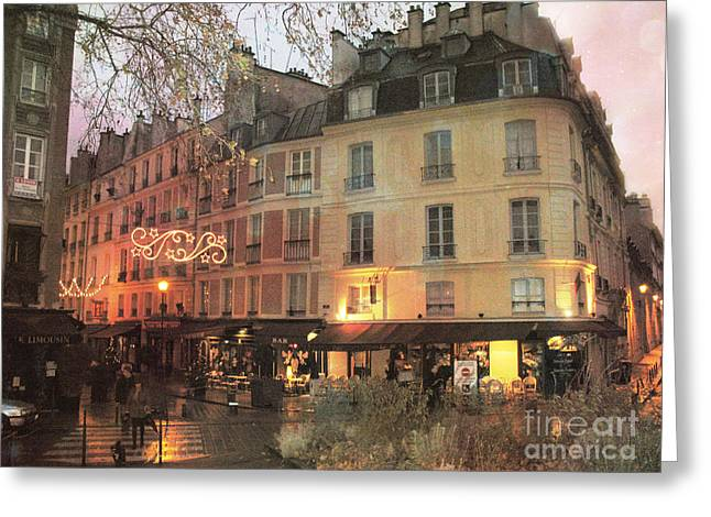 Dreamy Scenes Greeting Cards - Dreamy Romantic Paris Night Street Scene Greeting Card by Kathy Fornal