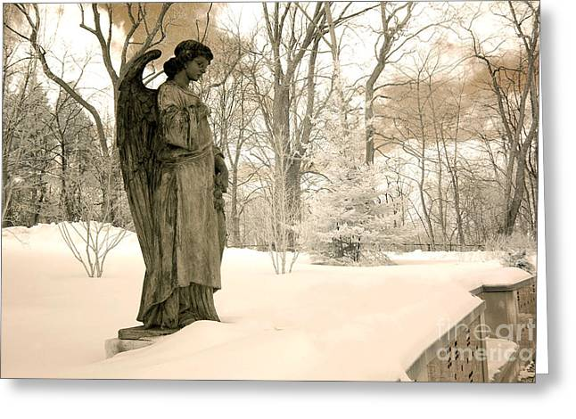 Surreal Fantasy Infrared Fine Art Prints Greeting Cards - Dreamy Surreal Angel Sepia Nature Scene Greeting Card by Kathy Fornal