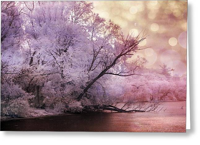 Surreal Pink Nature Prints By Kathy Fornal Greeting Cards - Dreamy Surreal Fantasy Pink Nature Lake Scene Greeting Card by Kathy Fornal