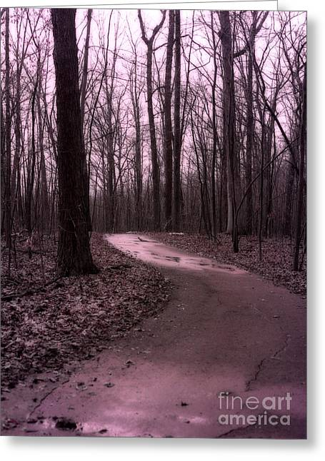 Fantasy Tree Greeting Cards - Dreamy Surreal Fantasy Woodlands Nature Path Greeting Card by Kathy Fornal