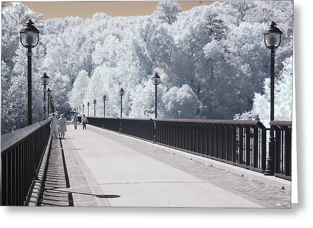 Surreal Infrared Dreamy Landscape Greeting Cards - Dreamy Surreal Infrared Bridge Walkway Scene Greeting Card by Kathy Fornal