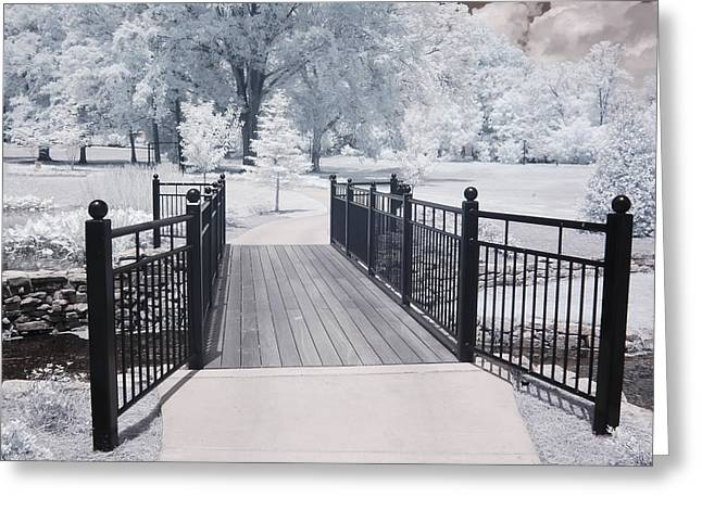 Nature Surreal Fantasy Print Greeting Cards - Dreamy Surreal South Carolina Infrared Gate Scene Greeting Card by Kathy Fornal