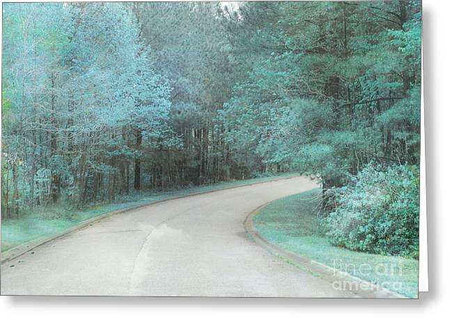 Park Scene Photographs Greeting Cards - Dreamy Teal Aqua Blue Nature Trees Greeting Card by Kathy Fornal