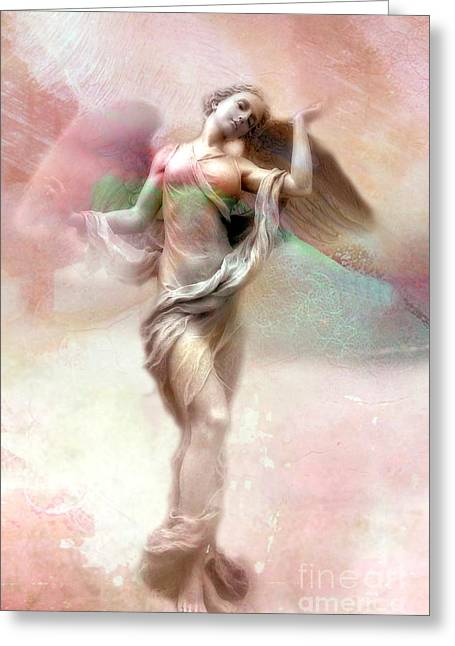 Ethereal Angel Art - Dreamy Whimsical Pastel Pink Dreaming Angel Art  Greeting Card by Kathy Fornal