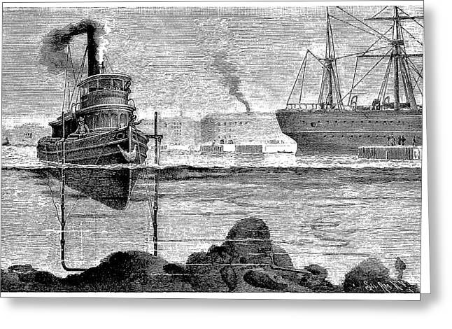 Surveying Greeting Cards - Dredging New York, 19th Century Greeting Card by