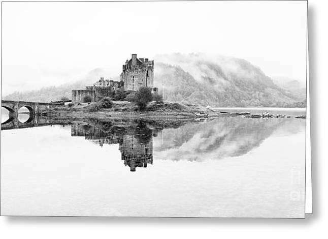 Calm Waters Greeting Cards - Dreich Morning at Eilean Donan Castle Greeting Card by Janet Burdon
