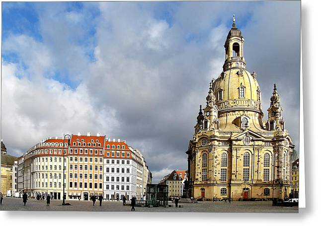 Frauenkirche Greeting Cards - Dresden Church of Our Lady and New Market Greeting Card by Christine Till
