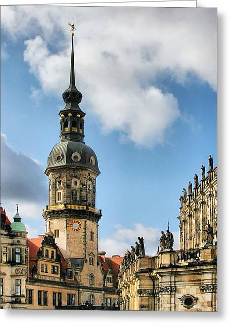 Historic Landmarks Greeting Cards - Dresden Hausmannsturm - Housemann Tower Greeting Card by Christine Till