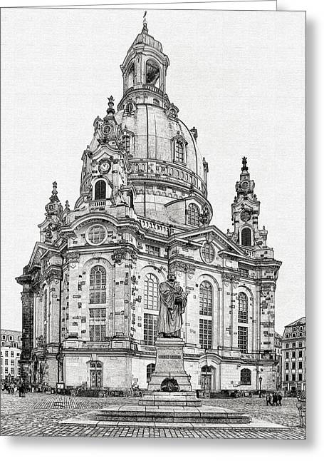 Frauenkirche Greeting Cards - Dresdens Church of our Lady - Reminder of peace Greeting Card by Christine Till