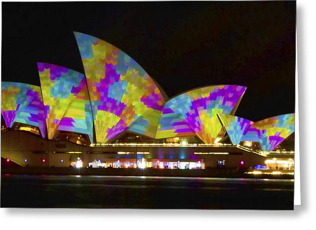 Bryan Freeman Greeting Cards - Dress Sails - Sydney Vivid Festival - Sydney Opera House Greeting Card by Bryan Freeman