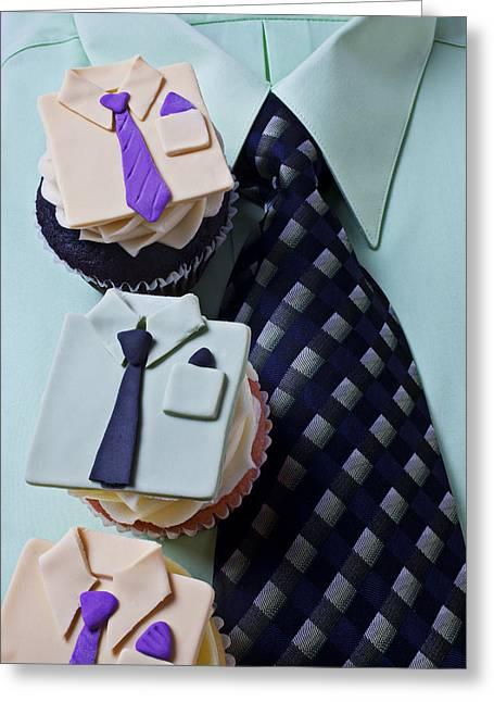 Dress Shirt Cupcakes Greeting Card by Garry Gay