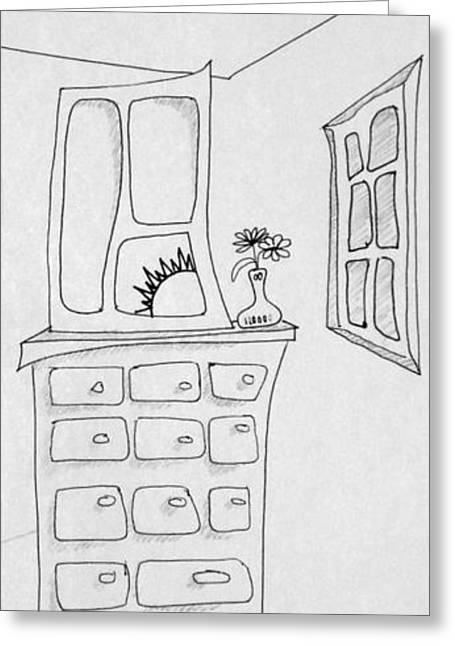 Denny Casto Greeting Cards - Dresser and Window Greeting Card by Denny Casto