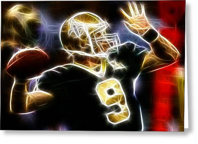 Drawn Greeting Cards - Drew Brees New Orleans Saints Greeting Card by Paul Van Scott