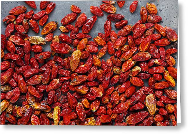Dried Chili Peppers Greeting Card by Carlos Caetano