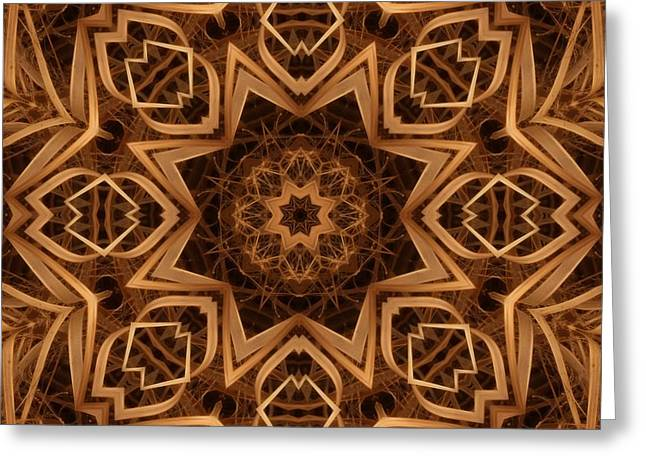 Kaleidoscope Greeting Cards - Dried Grass Mandala Greeting Card by Lyle Hatch