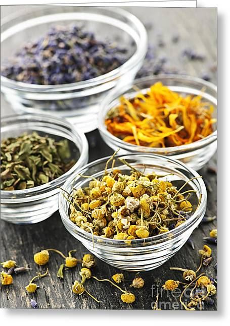 Medicinal Greeting Cards - Dried medicinal herbs Greeting Card by Elena Elisseeva
