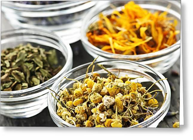 Dried medicinal herbs Greeting Card by Elena Elisseeva