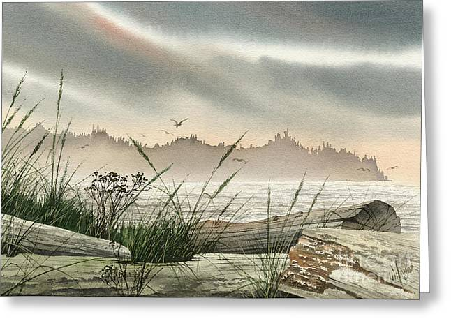Landscape Framed Prints Greeting Cards - Driftwood Glow Greeting Card by James Williamson