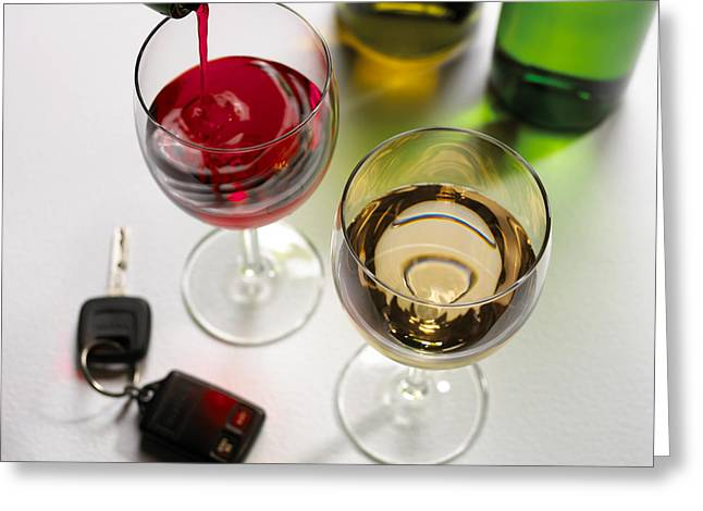 Wine Pouring Greeting Cards - Drink Driving, Conceptual Image Greeting Card by Mark Sykes