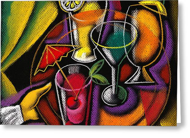 Lemon Art Greeting Card featuring the painting Drinks by Leon Zernitsky