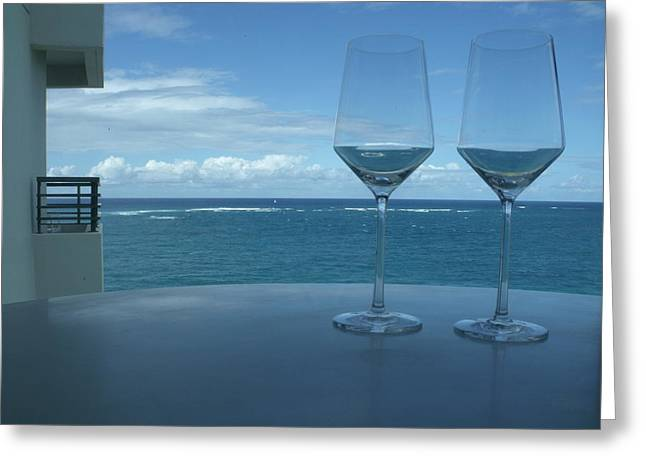 Drinks on the Terrace Greeting Card by Anna Villarreal Garbis