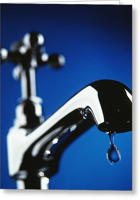 Dripping Tap Greeting Cards - Dripping Tap Greeting Card by Tek Image