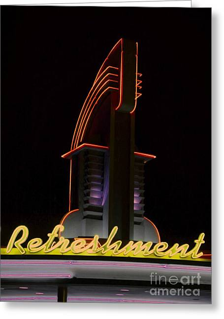 Outdoor Theater Mixed Media Greeting Cards - Drive in Movie Lights Greeting Card by Jerry L Barrett