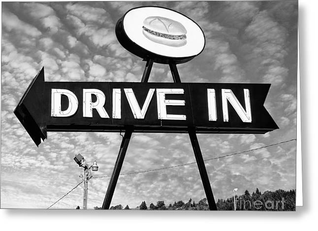 Drive In Style Greeting Cards - Drive In Neon Sign Greeting Card by Frank Short