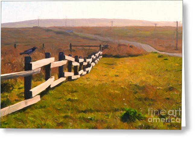 Philosophical Greeting Cards - Driving Down The Lonely Highway . Study 1 . Painterly Greeting Card by Wingsdomain Art and Photography