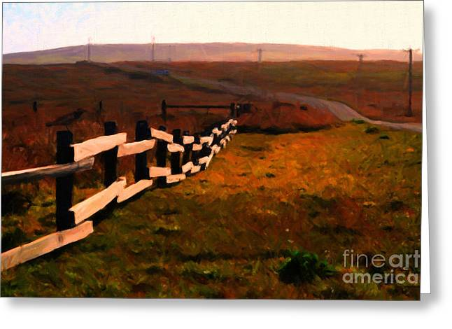 Driving Down The Lonely Highway . Study 2 . Painterly Greeting Card by Wingsdomain Art and Photography